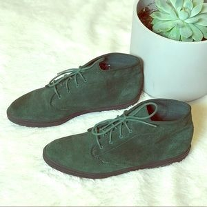 EUC Keds Green Suede Lace Up High Top Sneakers